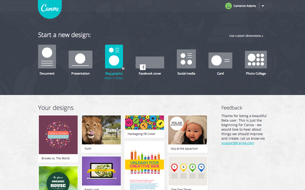 Canva-Homepage